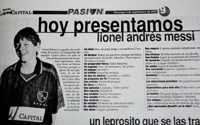 Messi deu entrevista para o jornal aos 13 anos