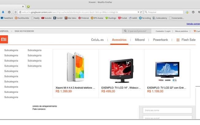 Alguns usuários conseguiram acessar a loja da Xiaomi Brasil na tarde desta quarta-feira (8)
