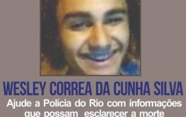 Cartaz pedindo pistas sobre os envolvidos na morte de Wesley