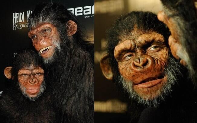 Heidi Klum em sua segunda fantasia para o ano de 2011: macaco