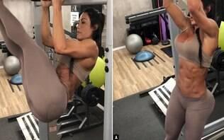 Gracyanne Barbosa faz movimentos giratórios e público baba com a agilidade