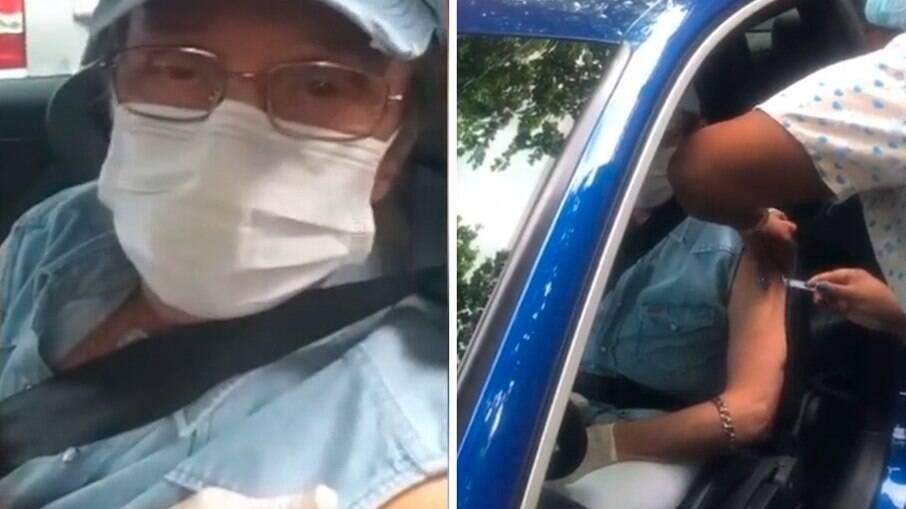 Roberto Carlos sendo vacinado no drive-thru