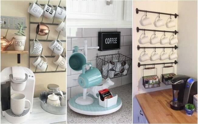 Com suportes de parede e aproveitando uma bancada ou um móvel, é possível fazer um cantinho do café mais discreto