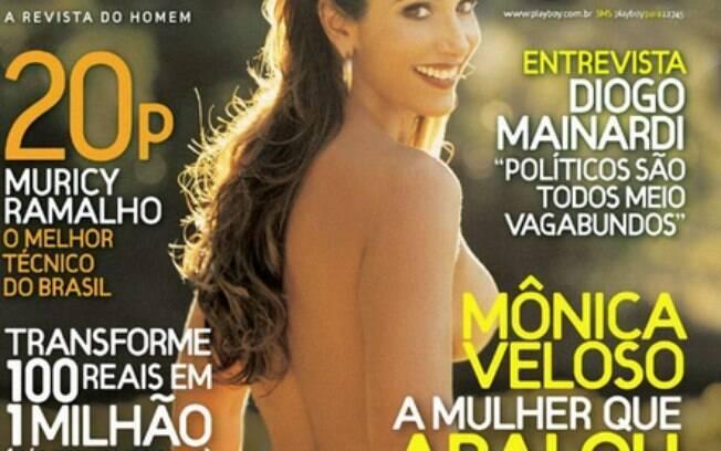 A nudez e o poder: a Playboy estampou uma de suas capas de 2007 com Monica Veloso, que teve um filho com o senador Renan Calheiros. Foto: Reprodução