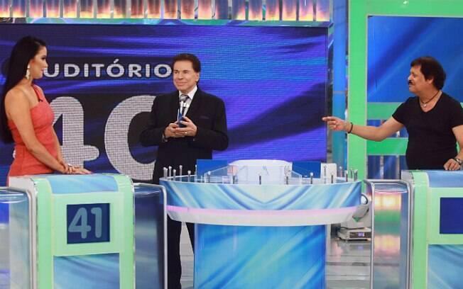 Silvio Santos com Helen Ganzarolli e Carlinhos Aguiar