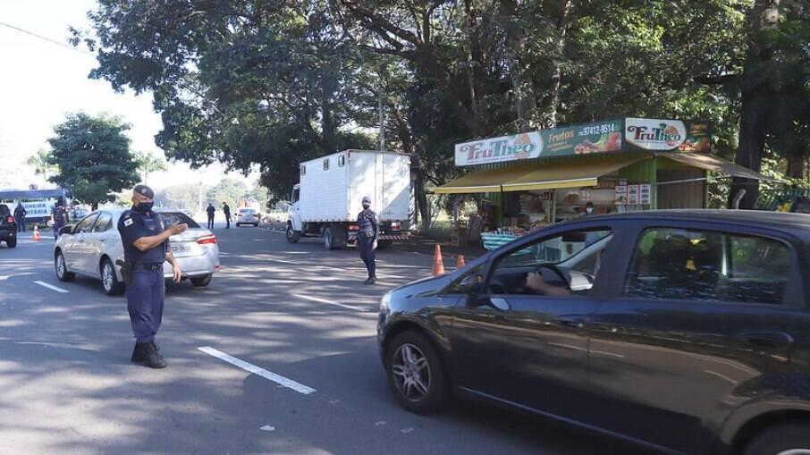 Barreira sanitária em Campinas.