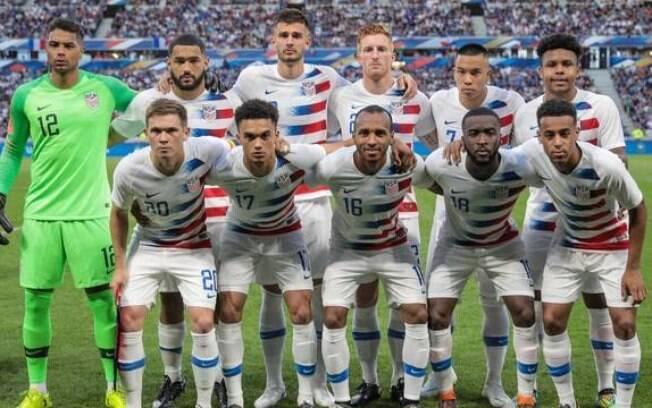 Estados Unidos antes da partida contra a França, em amistoso
