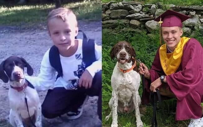 Dylan e seu cachorro Ruger no primeiro e último dia de aula