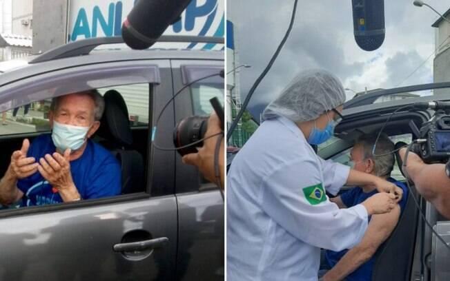 Léo Batista é vacinado contra Covid