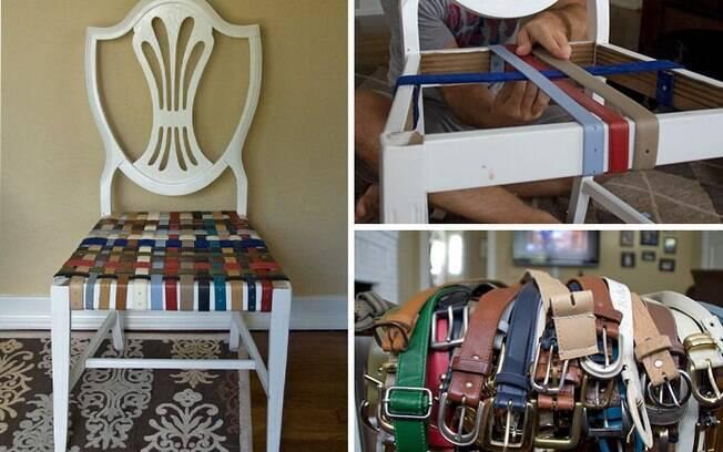 Aproveite aquela cadeira sem assento para criar um objeto cheio de cores!
