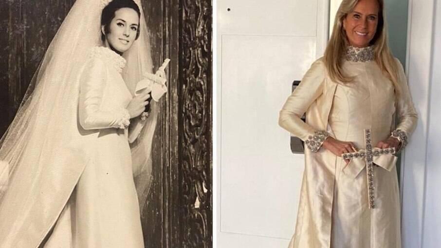 Helô Pinheiro mostrou como está o vestido de noiva de 55 anos atrás