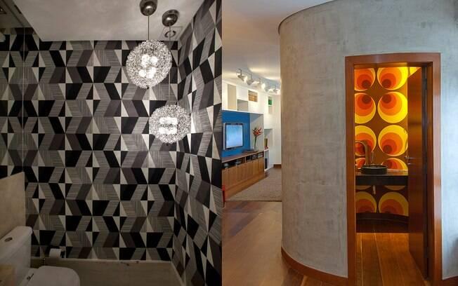 Papel de parede no lavabo é tudo de bom! Deixa esse cantinho da casa mais vivo e personalizado.