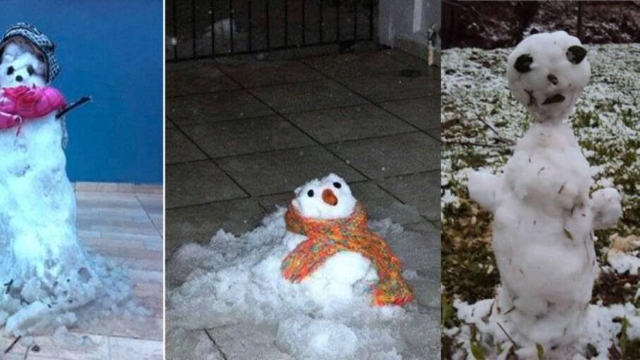 Bonecos de neve puderam ser feitos no Brasil por conta da frente fria