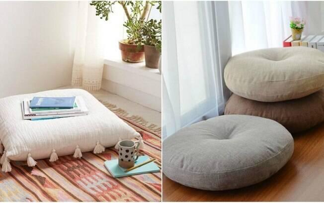 Espalhar almofadas grandes sobre um tapete no espaço zen é uma forma de torná-lo confortável