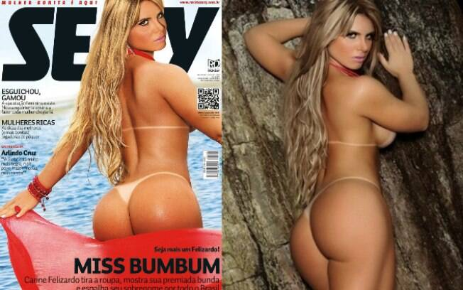 Carine Felizardo, a Miss Bumbum 2013, foi capa da revista Sexy em fevereiro