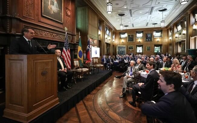 Bolsonaro durante evento da Câmara de Comércio dos Estados Unidos
