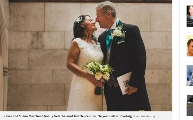 O casal se reencontrou no Facebook e se casou