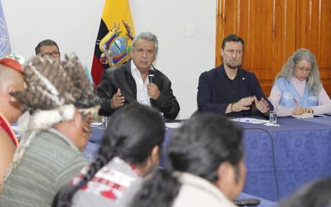 Lenín Moreno e as lideranças indígenas se reuniram por cerca de quatro horas neste domingo (13)