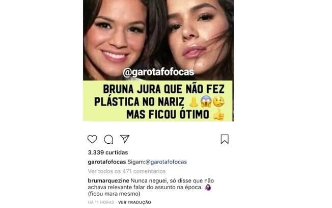 Bruna Marquezine fala de plástica no nariz no Instagram