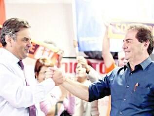 União. Aécio Neves e Paulinho da Força (SDD) em evento ontem. Solidariedade anuncia apoio na quinta