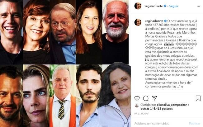 Regina Duarte postou uma montagem de supostos apoiadores de sua administração na cultura