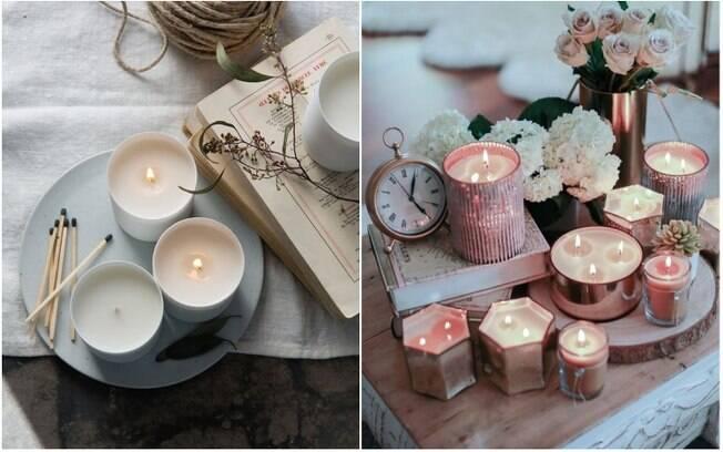 Velas aromáticas, incensos e difusores de suas fragrâncias favoritas criam um clima confortável em casa