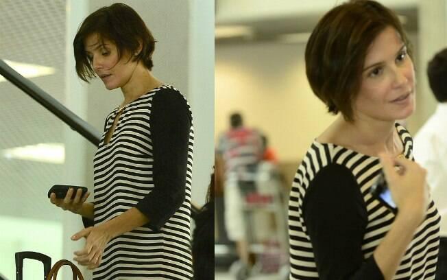 Deborah Secco sem maquiagem no aeroporto Santos Dumont