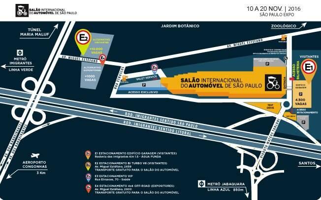 Mapa mostra como chegar no São Paulo Expo, o novo local do Salão do Automóvel de São Paulo, com os principais acessos sinalizados.