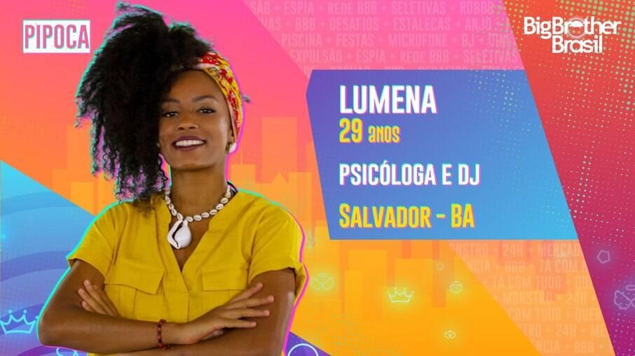 Baiana e psicóloga, Lumena integra elenco do BBB21