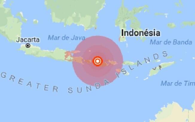 O epicentro do terremoto na Indonésia foi registrado a 10,5 km de profundidade e a 2 km ao sul de Loloan