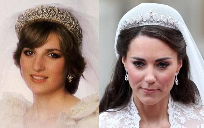 Diana não usou uma tiara da família real e sim uma peça que pertencia à sua família, os Spencer. Kate usou uma tiara Cartier de 1936, que a rainha ganhou aos 18 anos