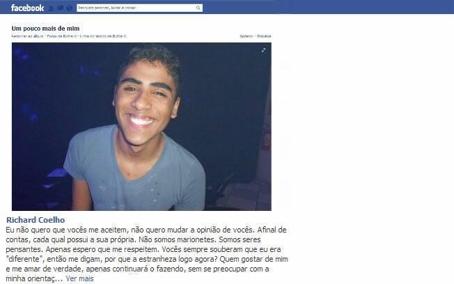 Richard Gomes escolheu uma postagem em seu perfil no Facebook para se assumir gay para família