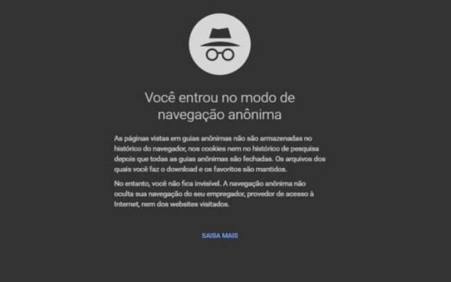 O Google Chrome avisa que você não fica invisível ao entrar no modo de navegação anônima