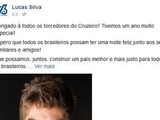 Lucas Silva publicou a mensagem de Natal no seu Facebook