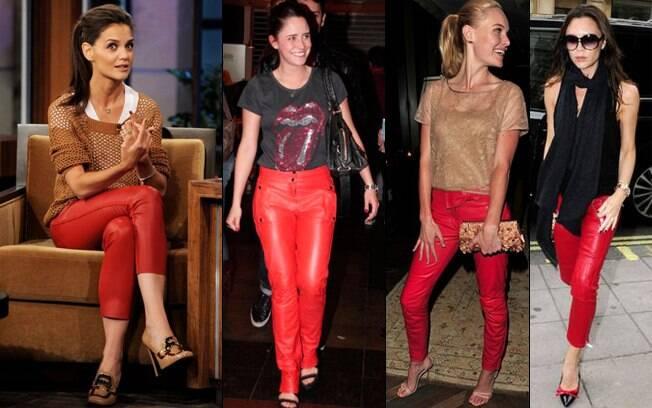 Katie Holmes, Fernanda Vasconcellos, Kate Bosworth e Victoria Beckham: calças de couro colorido