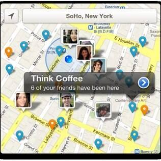 Imagem mostra mudanças nos mapas do Foursquare