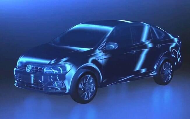 Volkswagen Virtus foi mostrado na tela de apresentação das novidades da marca durante o Salão de Genebra (Suíça)