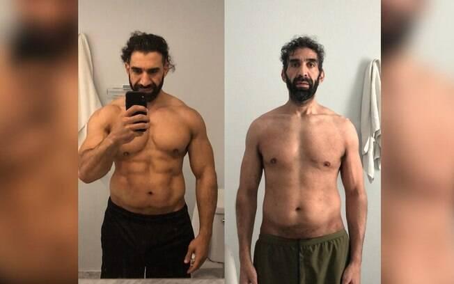 Atleta mostra o antes e o depois