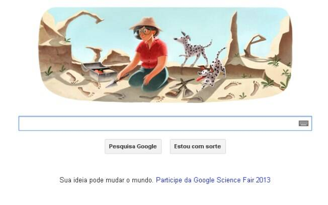 Doodle em homenagem à Mary leakey é exibido pelo Google nesta quarta-feira