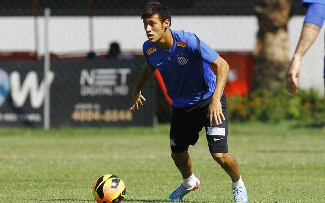 Neymar em treino do Santos