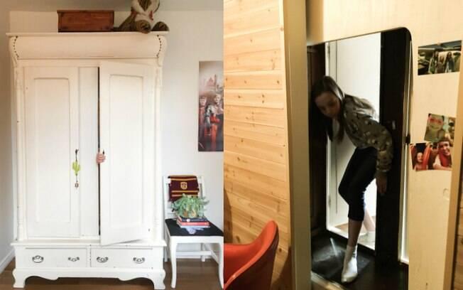 Guarda-roupa foi preso na frente da entrada do closet do quarto infantil para criar ambiente mágico para a criança