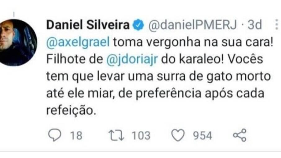 Postagem de Daniel Silveira no Twitter
