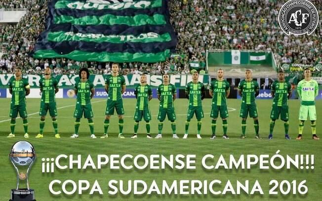 A Conmebol divulgou em seu site que a Chape é a campeã da Copa Sul-Americana de 2016