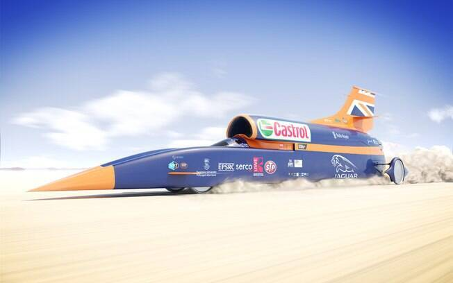 Bloodhound SSC tentará atingir 1.609 km/h no deserto e bater o recorde mundial de velocidade na superfície