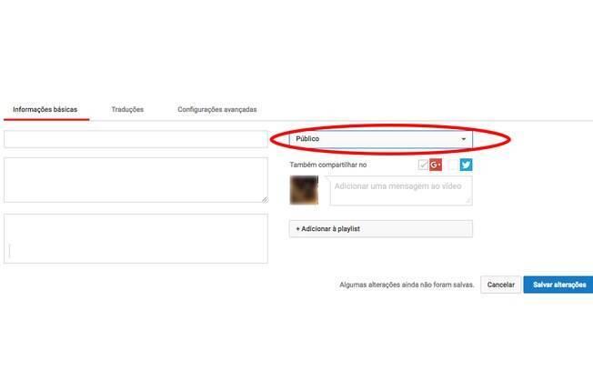 Clique no menu expansivo localizado logo ao lado do título do seu vídeo.