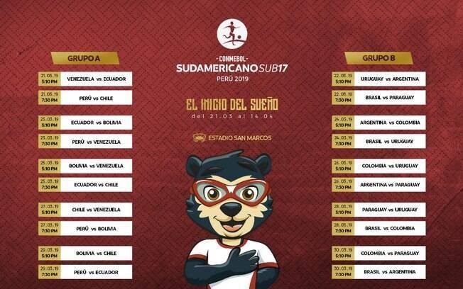 Tabela de jogos das eliminatórias sul-americanas para o Mundial sub-17 que acontecerá no Brasil