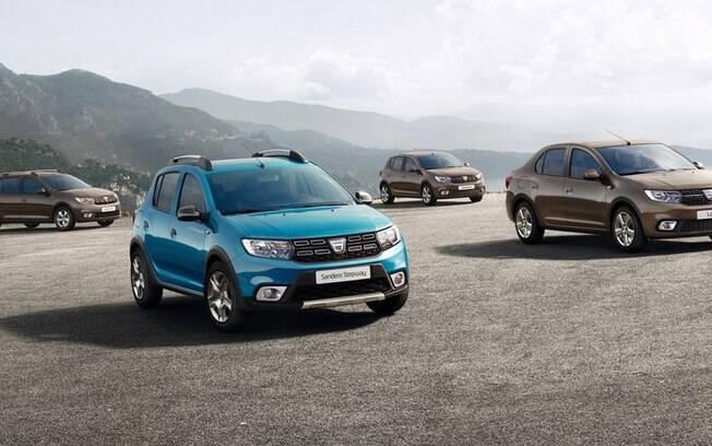 Imagem mostra toda linha Dacia derivada da dupla Logan e Sandero vendida na Europa