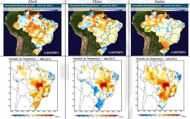 Previsão de anomalia de precipitações e de temperatura em todo o Brasil neste outono de 2015