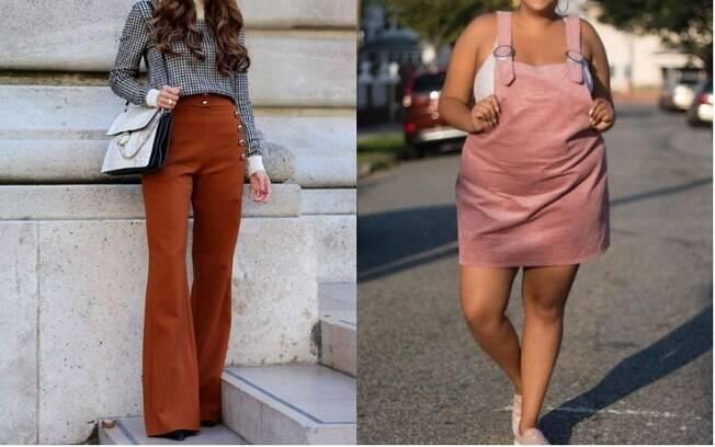 As calças flare (esq.) estão entre as roupas da moda para as brasileiras, assim como peças compostas por veludo cotelê
