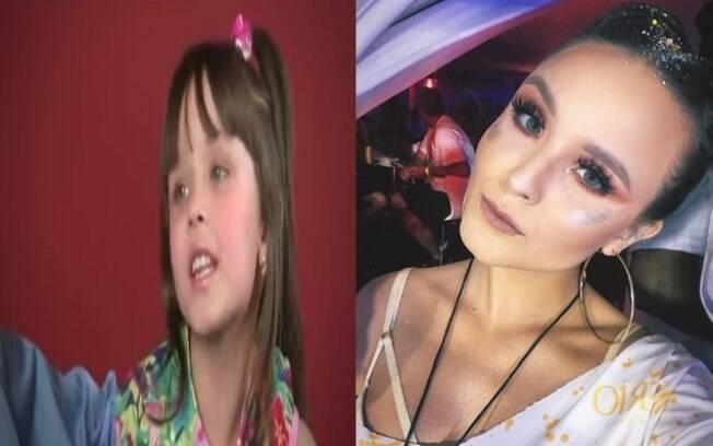 Esquerda: Larissa Manoela em um comercial de TV em 2008. Direita: foto publicada recentemente em seu Instagram